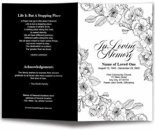 Chic Floral Lines Funeral Program Template