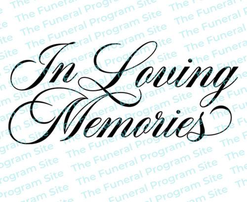 In Loving Memories Funeral Program Title