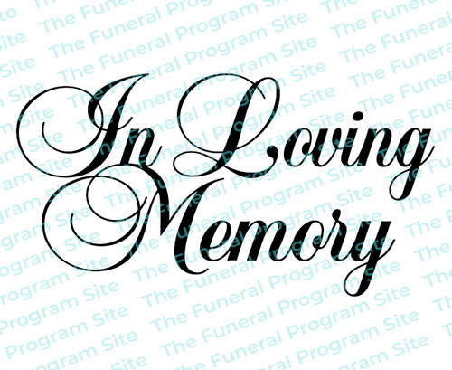 In Loving Memory Funeral Program Title 2 Lines