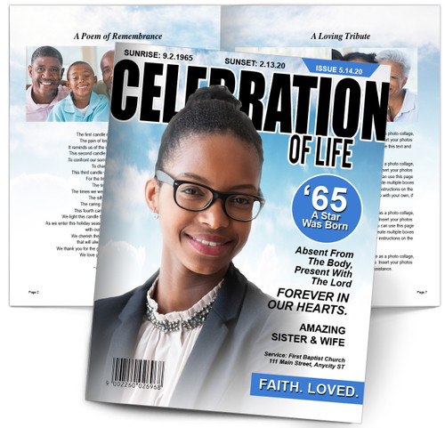 Celebration of Life Magazine Cover Funeral Booklet Template