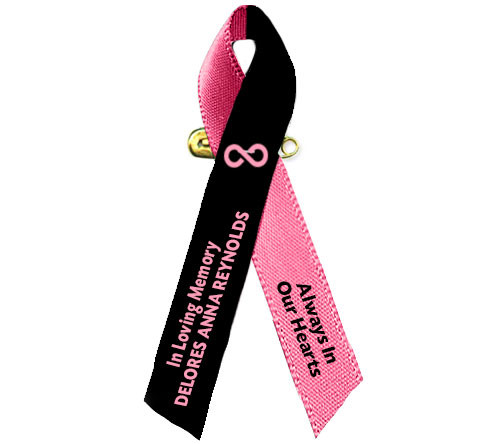 Black Pink Awareness Ribbon Loss of A Female Loved One