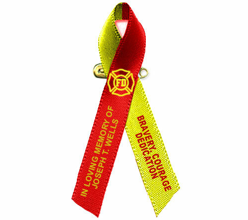 Red Yellow Awareness Ribbon Fireman