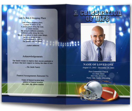 Navy Blue/Silver Football Team Colors Funeral Program Template