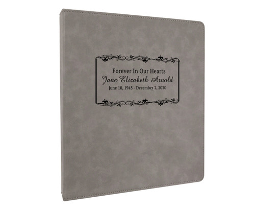 Leatherette Suede Garland 3-Ring Binder Funeral Guest Book gray
