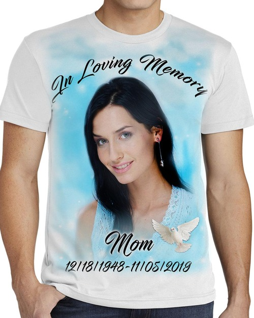Rest In Peace In Loving Memory T-Shirt Teal Lights sample Mens