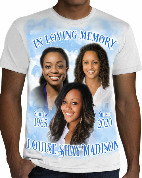 Rest In Peace In Loving Memory T-Shirt Triple Photo