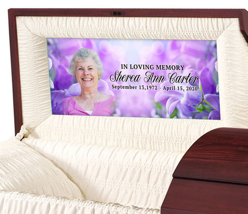 Lavender Flowers Custom Casket Head Panel Insert sample