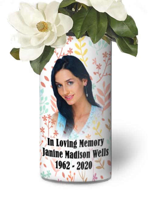 In Loving Memory Memorial Photo Flower Vase - Pastel Leaves