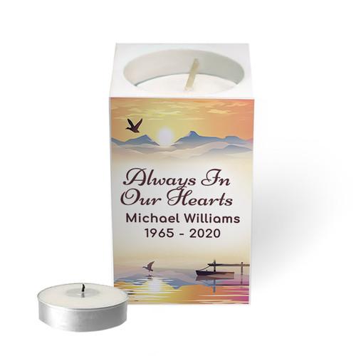 Personalized Mini Memorial Tea Light Candle Holder - Sunset Horizon