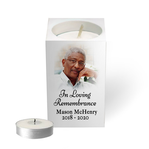 Personalized Mini Memorial Tea Light Candle Holder - Photo Vignette