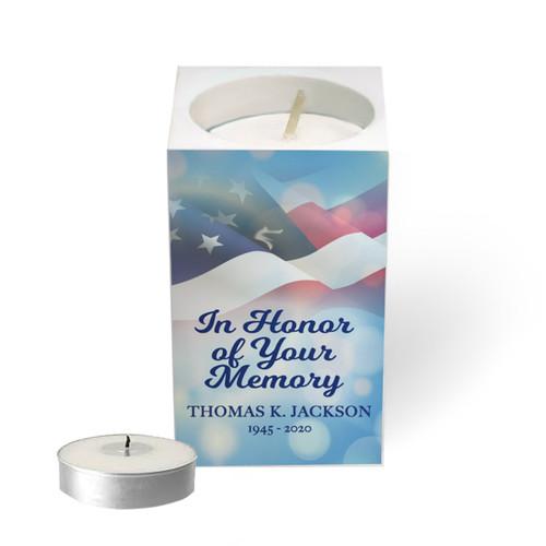 Personalized Mini Memorial Tea Light Candle Holder - US Flag