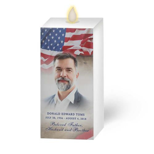 Dancing Wick LED Memorial Candle - Square Pillar U.S. Flag