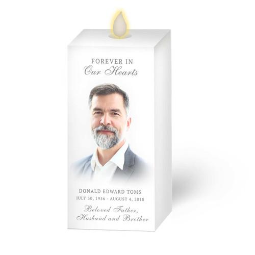 Dancing Wick LED Memorial Candle - Square Pillar Principle