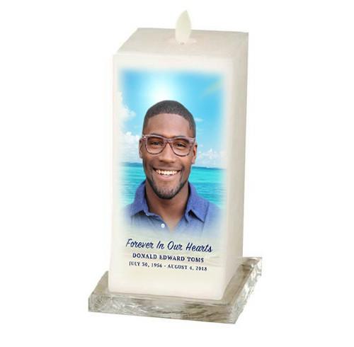 Dancing Wick LED Memorial Candle - Square Pillar Beach