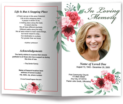 Carrara Watercolor Funeral Program Template