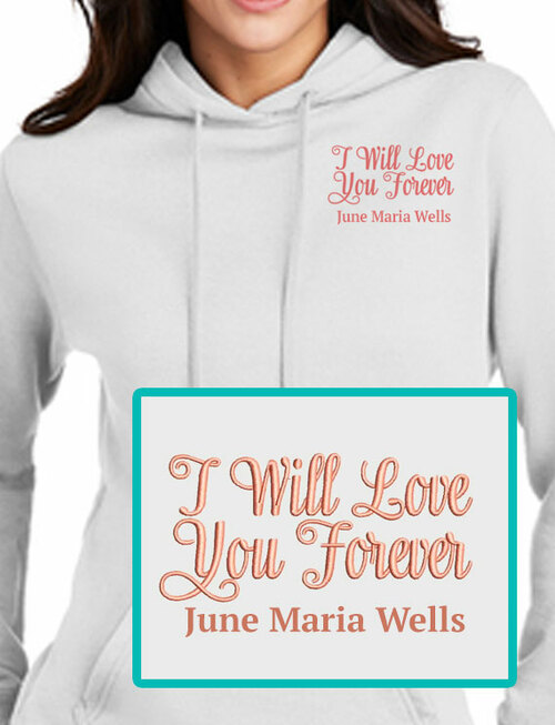 Love Forever Embroidery Fleece Hooded Memorial Sweatshirt Ladies