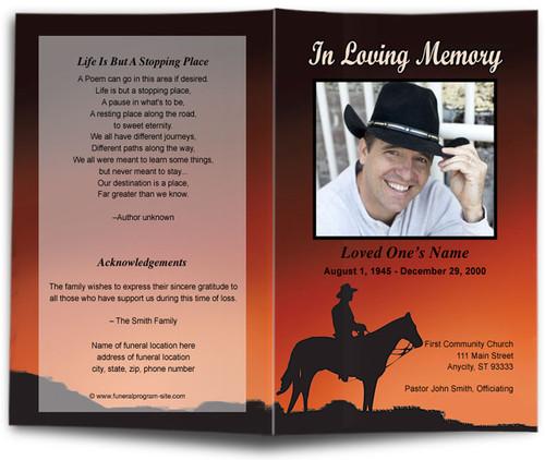 Mustang Funeral Program Template
