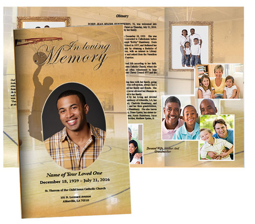 Basketball Large Trifold Funeral Brochure Template (Tabloid Size)