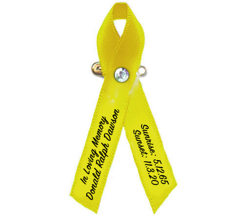 Yellow Cancer Ribbon - Pack of 10
