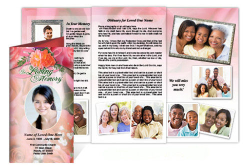 Rosy Tri Fold Funeral Brochure Template