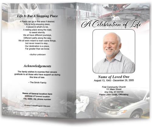 Car Mechanic Letter Funeral Program Template