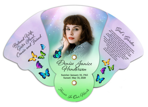 Butterflies Memorial Custom Folding Hand Held Fan