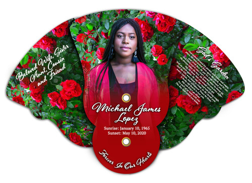 Red Roses Memorial Custom Folding Hand Held Fan