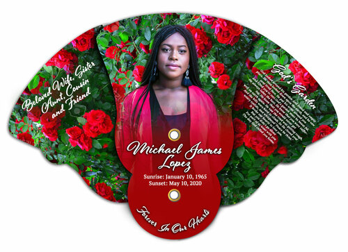 Red Roses Memorial Custom Folding Hand Held Fan