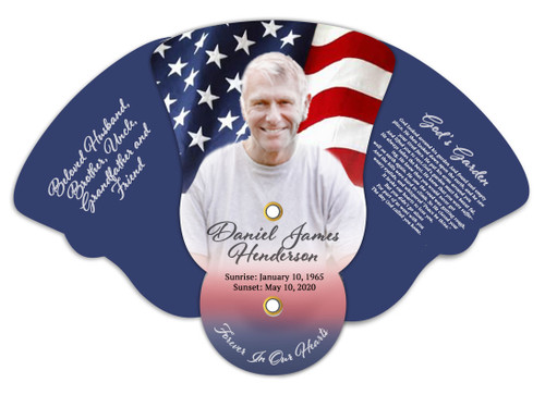 US Flag Memorial Custom Folding Hand Held Fan