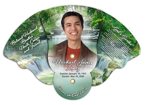 Waterfall Memorial Custom Folding Hand Held Fan