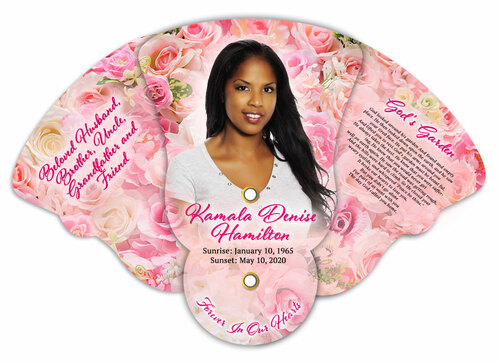 Pink Petals Memorial Custom Folding Hand Held Fan