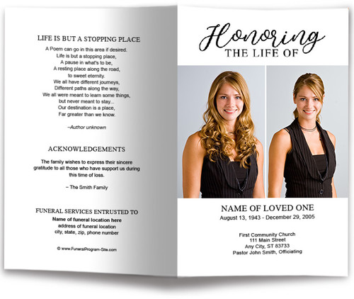 Duo Photo Funeral Program Template