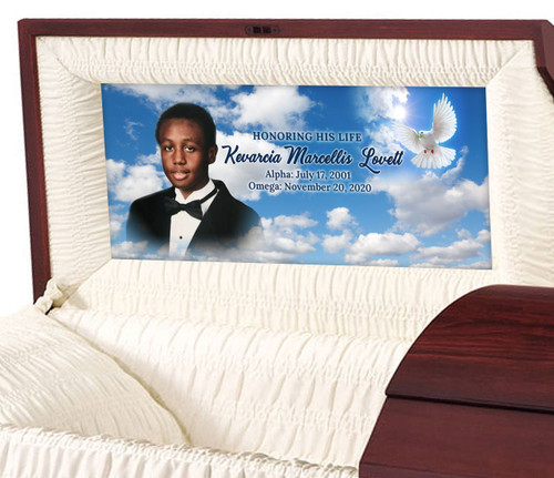 Dove Skies Personalized Casket Panel Insert - Half Couch
