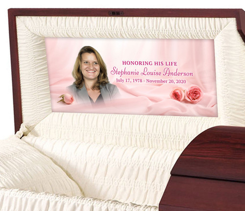 Delicate Pink Personalized Casket Panel Insert