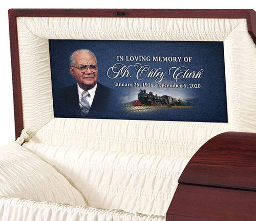 Custom Casket Panel Insert - Train Design