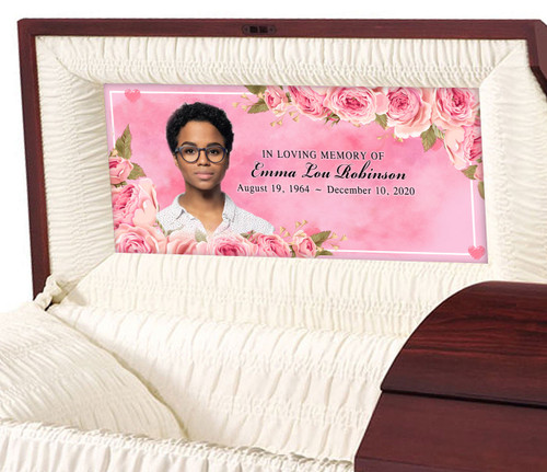 Custom Casket Panel Insert - Rose Border Design