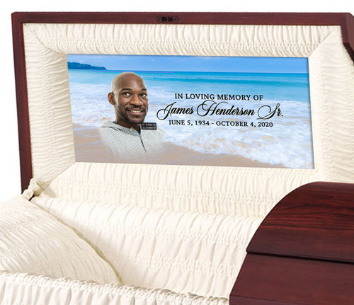 Custom Casket Panel Insert - Ocean Waves Design