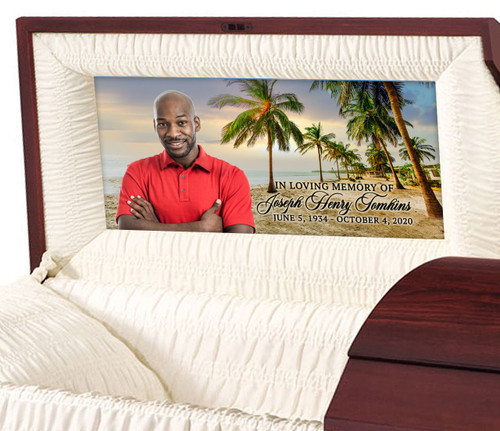 Custom Casket Panel Insert - Palm Trees Design