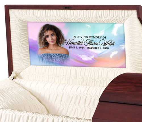Custom Casket Panel Insert - Feather Design