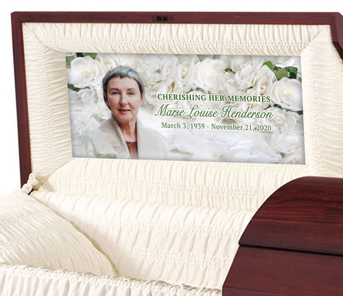Custom Casket Panel Insert - White Roses Design