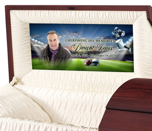 Custom Casket Panel Insert - Football Design