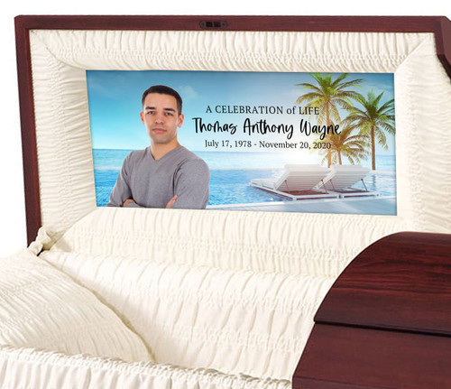 Custom Casket Panel Insert - Tropical Paradise Design