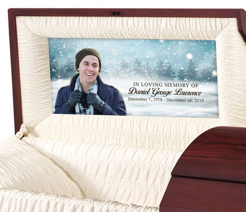 Custom Casket Panel Insert - Snow Day Design