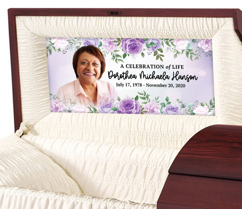 Custom Casket Panel Insert - Floral Border Design