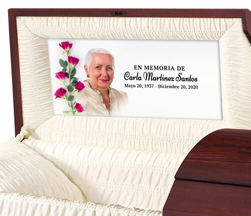 Custom Casket Panel Insert - Red Roses Design