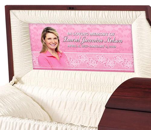Custom Casket Panel Insert - Floral Lace Design
