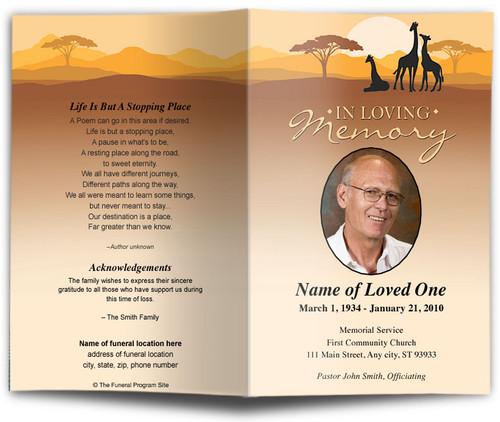 Safari Funeral Program Template