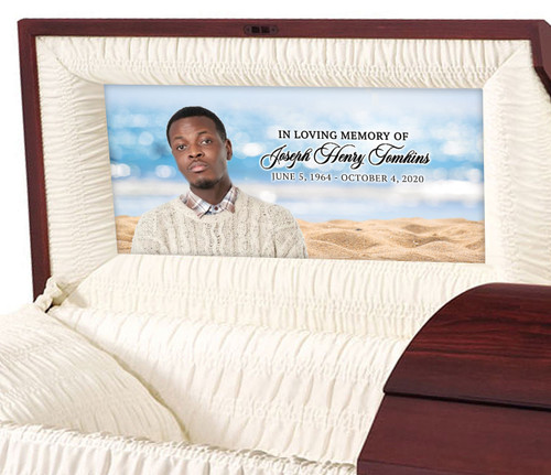 Custom Casket Panel Insert - Sandy Shores Design