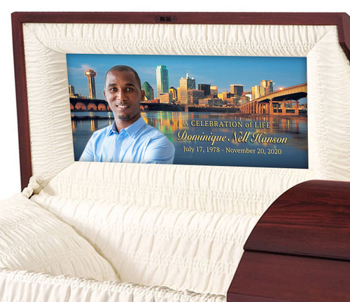 Custom Casket Panel Insert - Dallas Texas Design