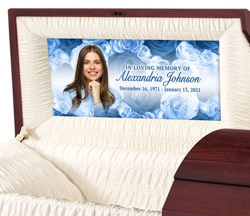 Custom Casket Panel Insert - Blue Roses Design